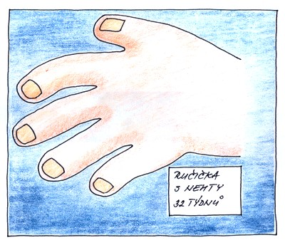 34. týden těhotenství - ruka plodu