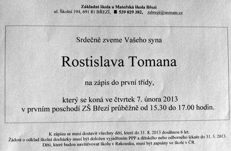 Předškolák Rosťa - pozvánka