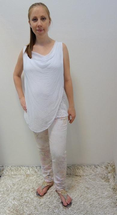 Těhotenské oblečení - těhotenské kalhoty s tílkem