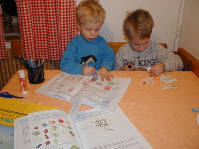 Kluci pracují s Předškolákovými týdeníčky
